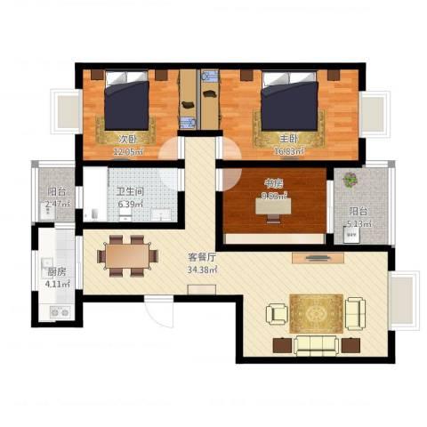 世好国际花园3室1厅1卫1厨132.00㎡户型图