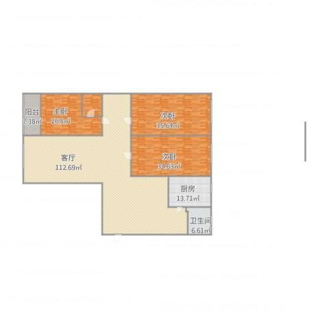 肯彤国际3室1厅1卫1厨311.00㎡户型图
