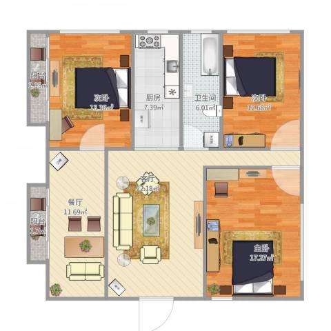 共和三村3室2厅1卫1厨128.00㎡户型图