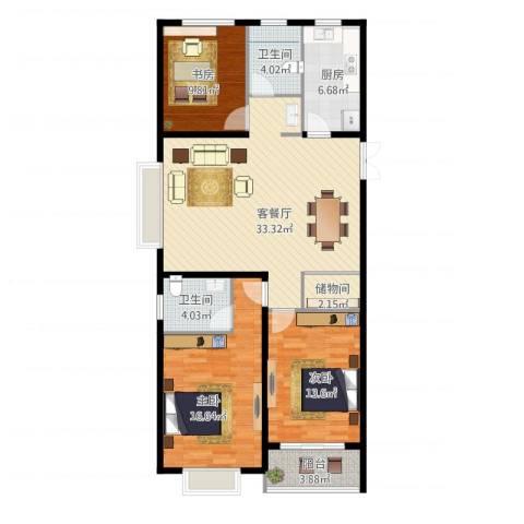 淮矿馥邦天下3室1厅2卫1厨130.00㎡户型图