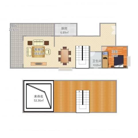 广地花园1室1厅1卫1厨256.00㎡户型图