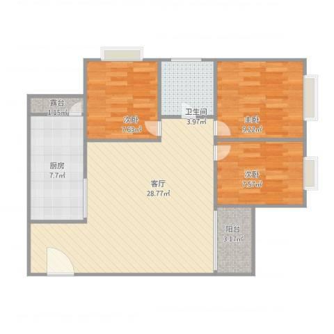 沙面新城3室1厅1卫1厨93.00㎡户型图