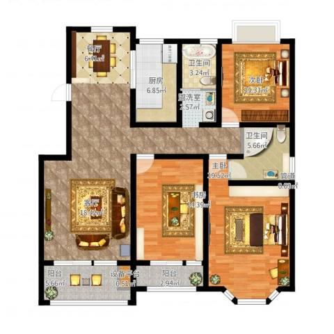 天房海滨园3室1厅4卫1厨163.00㎡户型图