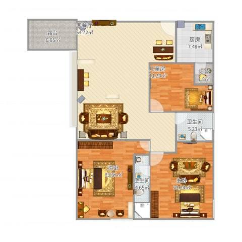 万科蓝山3室1厅2卫1厨187.00㎡户型图