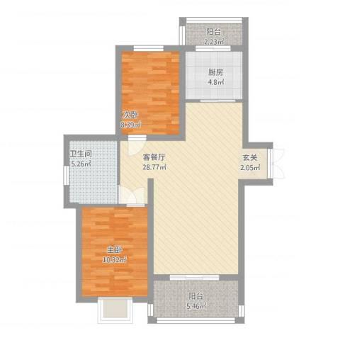 新希望乐城2室1厅1卫1厨94.00㎡户型图