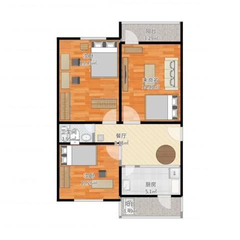 花园路1号院2室1厅1卫1厨86.00㎡户型图