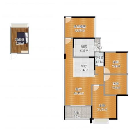 中熙松湖国际3室1厅1卫1厨121.00㎡户型图