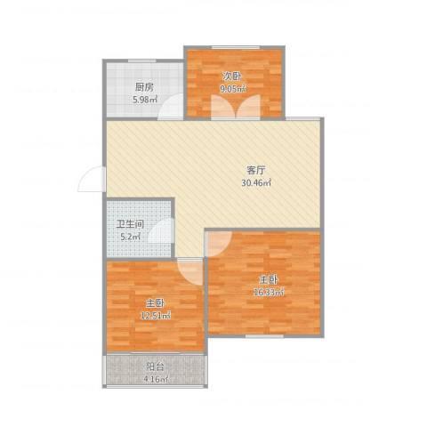北景园月桂苑3室1厅1卫1厨112.00㎡户型图