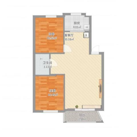 丽景国际2室1厅1卫1厨87.00㎡户型图