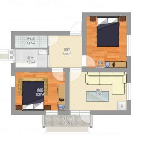 东山街2室2厅1卫1厨64.00㎡户型图