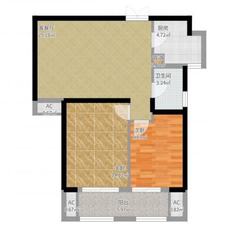 中乐江南名都2室1厅1卫1厨94.00㎡户型图