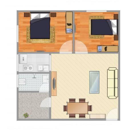 罗村花苑A区2室1厅1卫1厨72.00㎡户型图