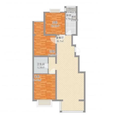 碧桂园温泉小区3室1厅1卫1厨125.00㎡户型图