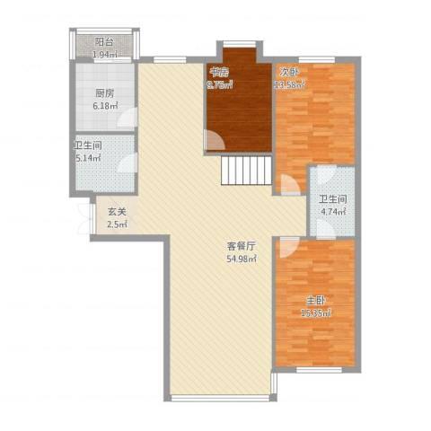 祥瑞家园3室1厅2卫1厨153.00㎡户型图