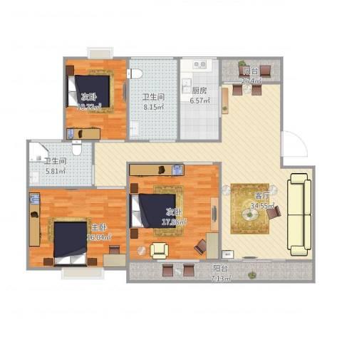 丽泽荷亭苑C3型122.43-122.74平方3室1厅2卫1厨147.00㎡户型图