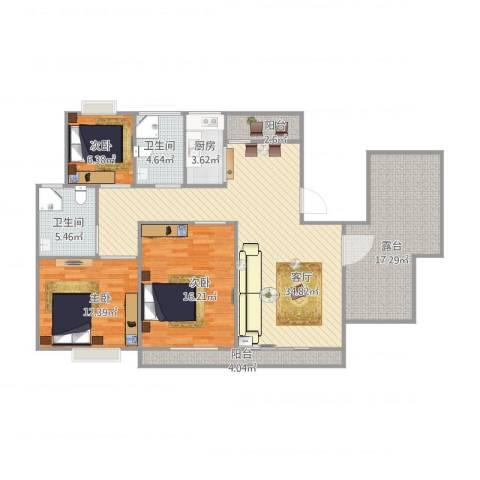 丽泽荷亭苑C460.11-60.55平方3室1厅2卫1厨145.00㎡户型图