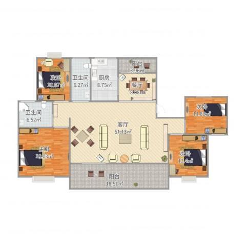 丽泽荷亭苑D1型162.99-163.4平方4室2厅2卫1厨210.00㎡户型图