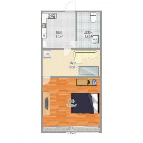 绿星小区1室1厅1卫1厨61.00㎡户型图