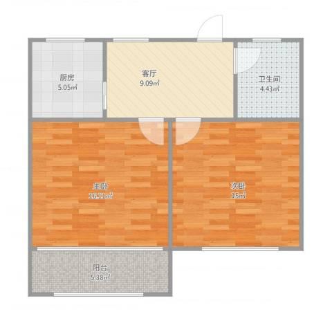 博山小区双南2室1厅1卫1厨74.00㎡户型图