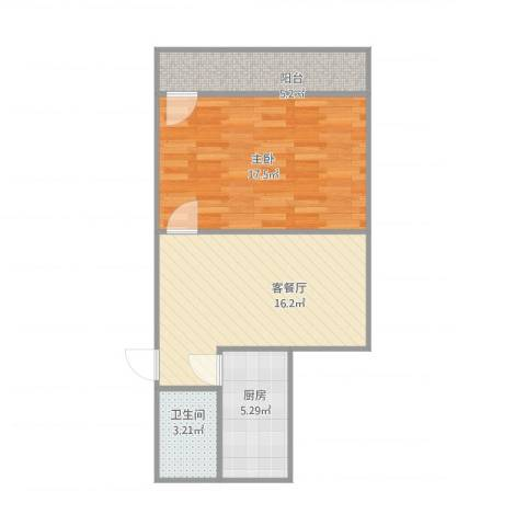 乐山小区北区11号楼1单元4041室1厅1卫1厨64.00㎡户型图