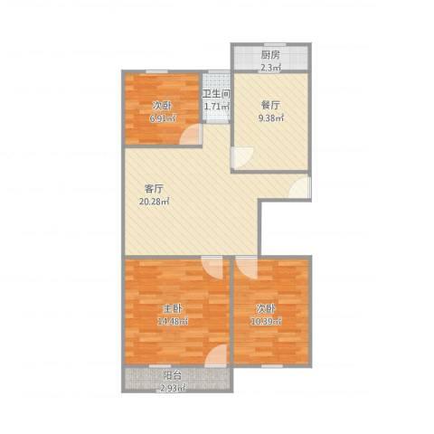 西苑翠景园3室2厅1卫1厨93.00㎡户型图
