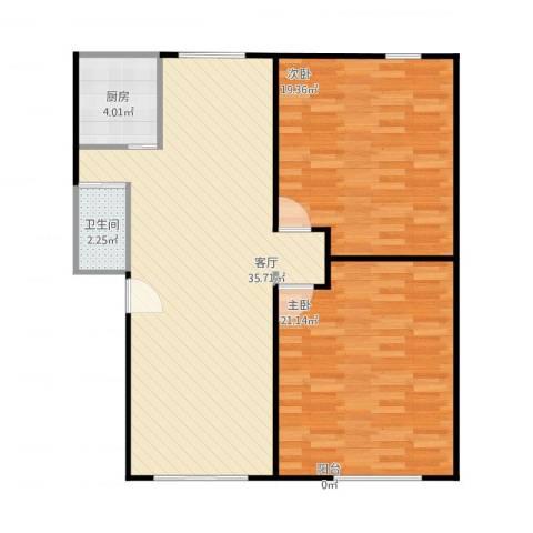 金都花好悦园二期2室1厅1卫1厨110.00㎡户型图