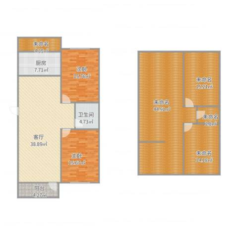 艾菲尔花园2室1厅1卫1厨224.00㎡户型图