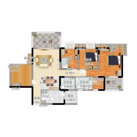 绿地翠谷勃朗廷3室1厅2卫1厨179.00㎡户型图