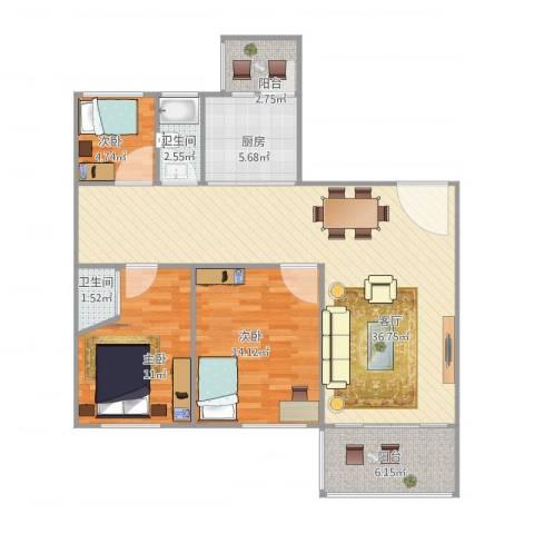 风度国际名苑3室1厅2卫1厨115.00㎡户型图