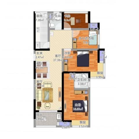 启迪方洲3室1厅4卫4厨145.00㎡户型图