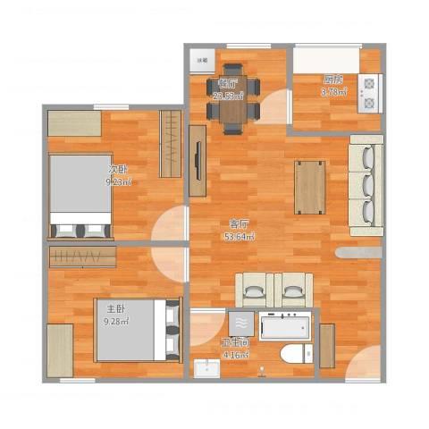 金兴花园2室1厅1卫1厨53.91㎡户型图