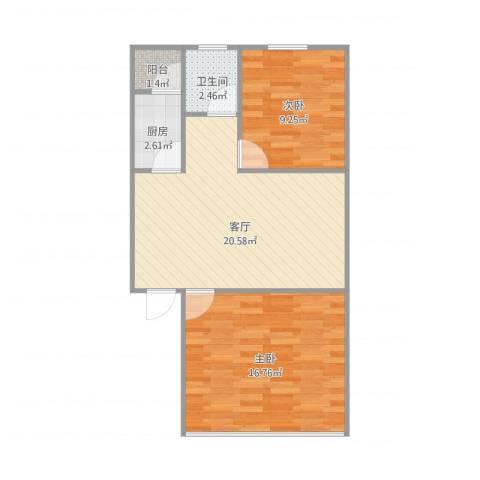 三塘桃园2室1厅1卫1厨72.00㎡户型图