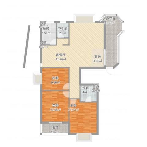 左海筑家3室1厅2卫1厨147.00㎡户型图