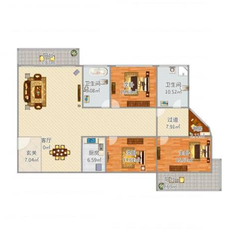 锦绣家园4室1厅2卫1厨231.00㎡户型图