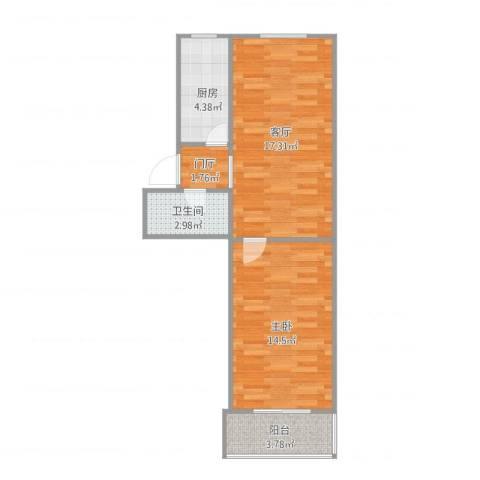 马家堡西里11号楼1室1厅1卫1厨61.00㎡户型图