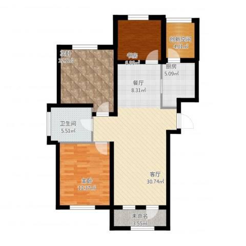 万豪城3室1厅2卫1厨116.00㎡户型图