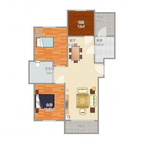 万豪城3室1厅1卫1厨113.00㎡户型图