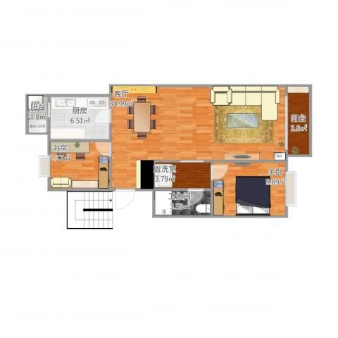 双河南里2室2厅1卫1厨98.00㎡户型图
