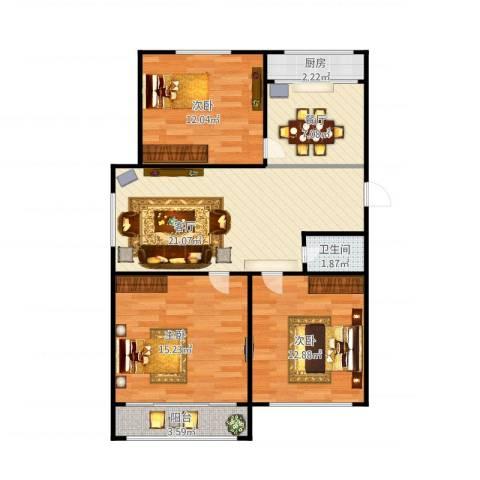 八府庄小区3室2厅1卫1厨102.00㎡户型图