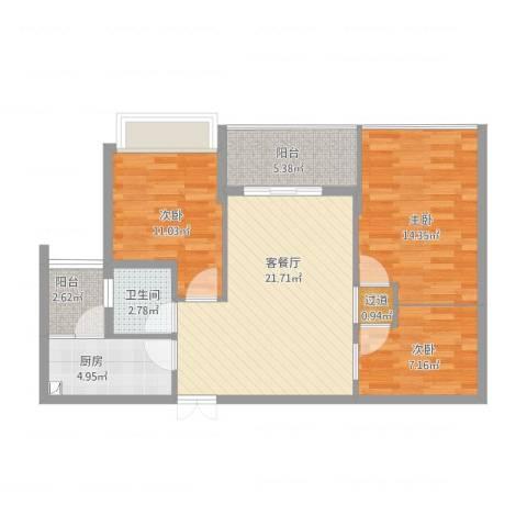 御花苑海蓝湾3室1厅2卫1厨98.00㎡户型图