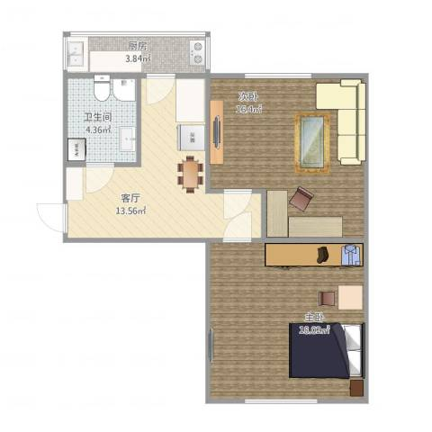 红桥区洪湖里奋斗楼2室1厅1卫1厨76.00㎡户型图