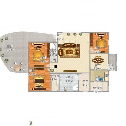山海华府3室2厅2卫1厨144.00㎡户型图