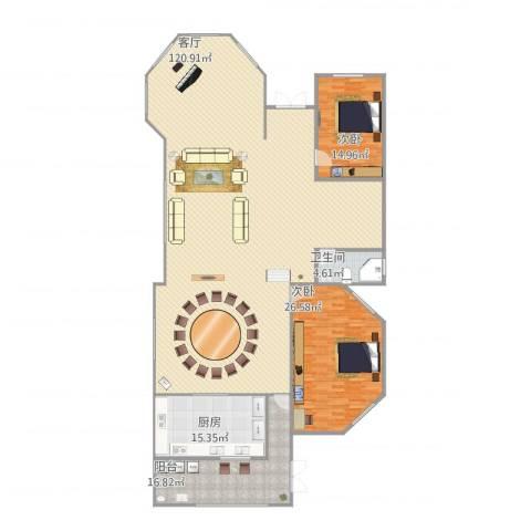 五洲康城2室1厅1卫1厨261.00㎡户型图