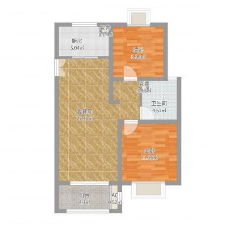 绿地观邸2室1厅1卫1厨90.00㎡户型图