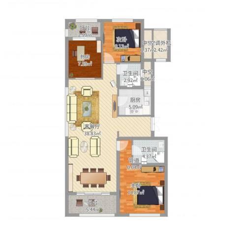 九龙仓国宾1号国宾山3室1厅2卫1厨138.00㎡户型图
