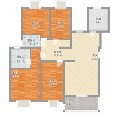 金鼎花园4室1厅2卫1厨159.00㎡户型图