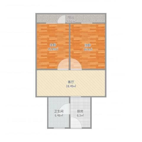 东沟三村2号6032室1厅1卫1厨92.00㎡户型图
