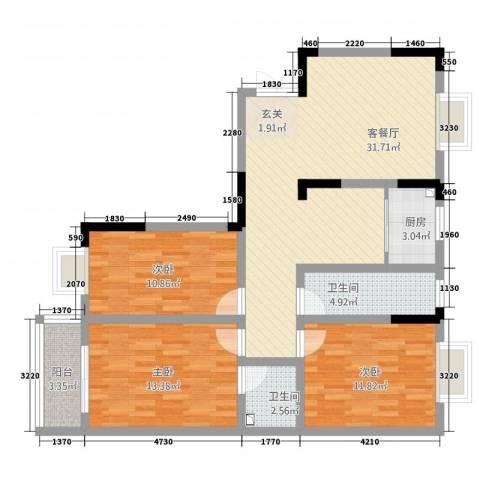 沿河小区3室1厅2卫1厨119.00㎡户型图
