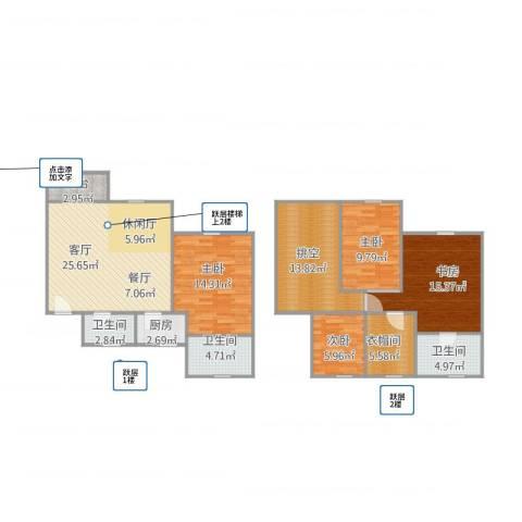 龙景花园15034室1厅3卫1厨147.00㎡户型图