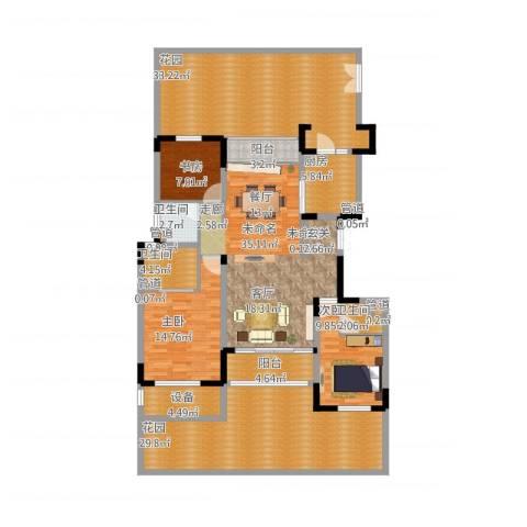 太湖锦园3室1厅9卫1厨224.00㎡户型图